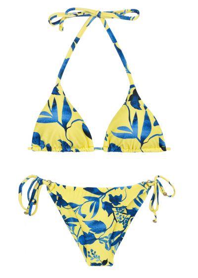 Gelb/blauer Bikini mit Blattprint, Accessoire - LEMON FLOWER INVISIBLE