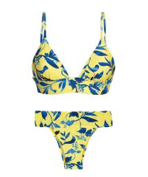 Yellow bra bikini with plant print and laced back - LEMON FLOWER TRI COS