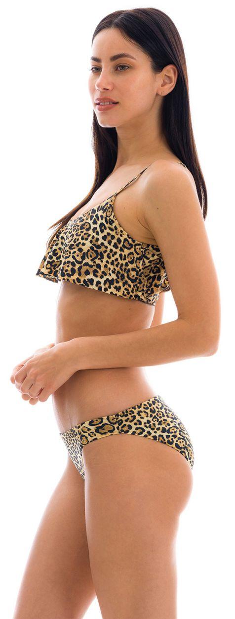 Fixed comfort cut ruffled bikini with leopard print - LEOPARDO BA COMFORT