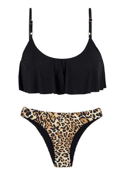 Ruffled black / leopard print bikini with adjustable straps - LEOPARDO BLACK BABADO