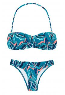 Blue & pink printed fixed bikini with bandeau top - LILLY BANDEAU