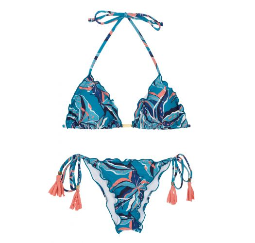 Floral blue scrunch bikini with tassels - LILLY FRUFRU
