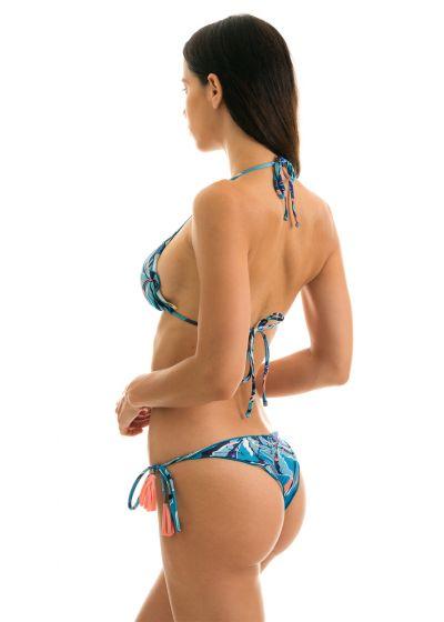 Floral blue scrunch bikini with tassels - LILLY FRUFRU