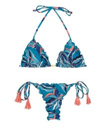 Pink & blue print side-tie scrunch thong bikini - LILLY FRUFRU MICRO