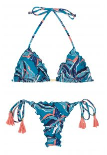 Pink & blue print side-tie scrunch thong bikini - LILLY FRUFRU MICRO