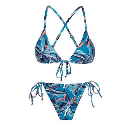 Blue & pink printed side-tie bikini with front tie - LILLY TRI ARG