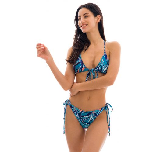 Blue & pink printed moderate cover bikini - LILLY TRI ARG COMFORT
