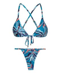 Blue & pink printed adjustable string bikini - LILLY TRI ARG MICRO