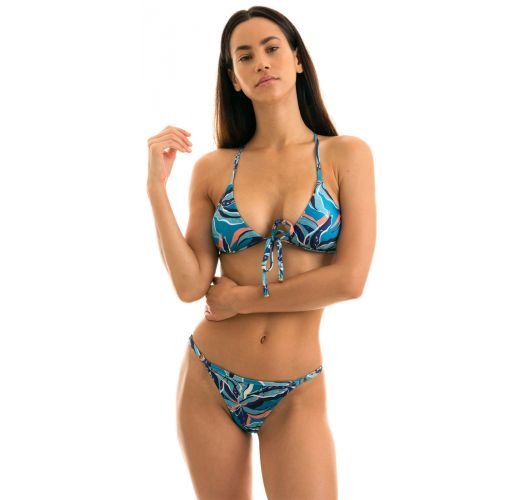 Blue & pink printed adjustable string bikini - LILLY TRI ARG MICRO