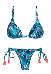 Blue & pink printed side-tie bikini with pompoms - LILLY TRI FIXO