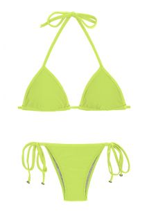 Bikini brésilien vert lime accessoirisé - LIME TRI