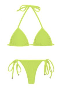 Lime side-tie Brazilian string bikini - LIME TRI MICRO