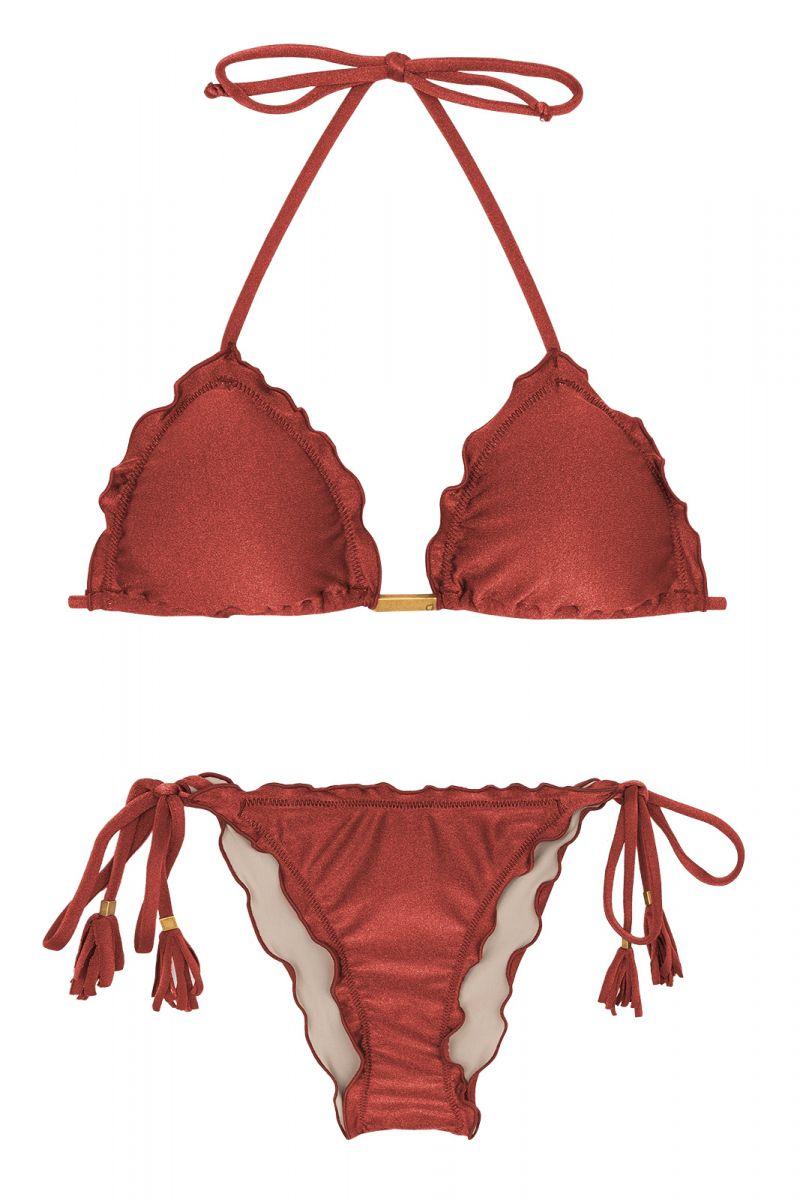 Burgundy scrunch side-tie bikini - LIQUOR FRUFRU