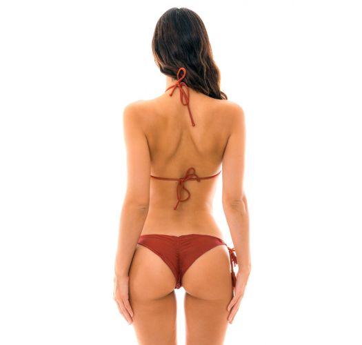 Brasilianischer Scrunch Bikini mit Pompons in ziegelrot - LIQUOR FRUFRU