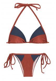 Bikini brésilien brique irisé/bleu texturé - LIQUOR RECORTE TRI
