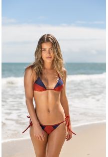 Burgundy / blue textured side-tie triangle bikini - LIQUOR RECORTE TRI