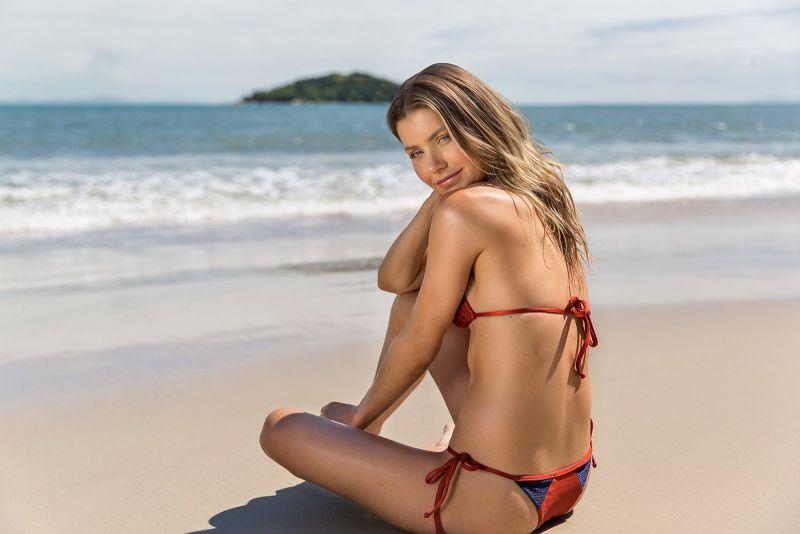 Tegelröd / blå texturerad bikini - LIQUOR RECORTE TRI