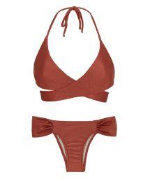 Bikini mit gekreuztem BH, ziegelrot schillernd - LIQUOR TRANSPASSADO