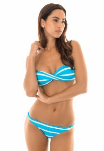 Twisted bandeau bikini with blue/white stripes - LISTRAS BRANCOAZUL