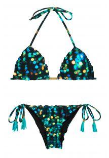 Brasiliansk skrumpet bikini med trykk og blondekanter - LUCE FRUFRU
