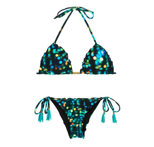 Printed black side-tie scrunch bikini - LUCE FRUFRU