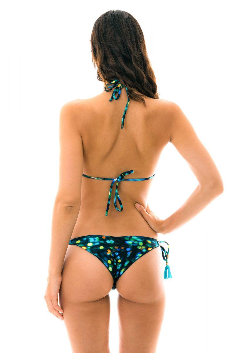 Printed black side-tie scrunch bikini - LUCE FRUFRU
