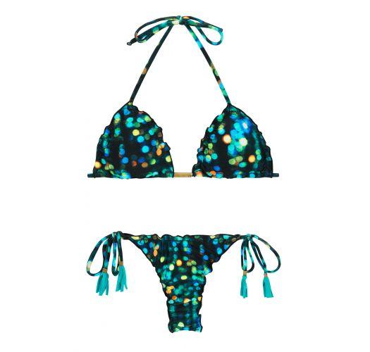 String bikini with blue pompoms - LUCE FRUFRU FIO