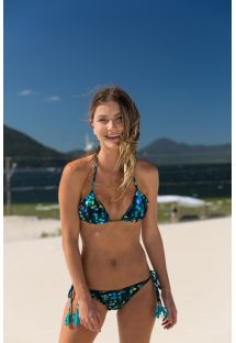 String bikini with blue pompoms - LUCE FRUFRU FIO