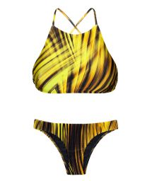 Yellow graphic print, cross back bikini crop top - LUXOR CROPPED