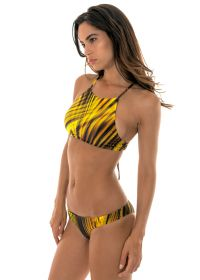 Yellow graphic print, cross back bikini crop top - LUXOR CROPPED