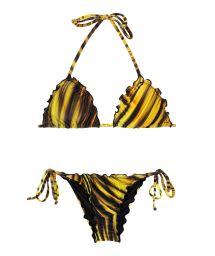 Rynkad, gul bikini med vågiga kanter - LUXOR FRU FRU