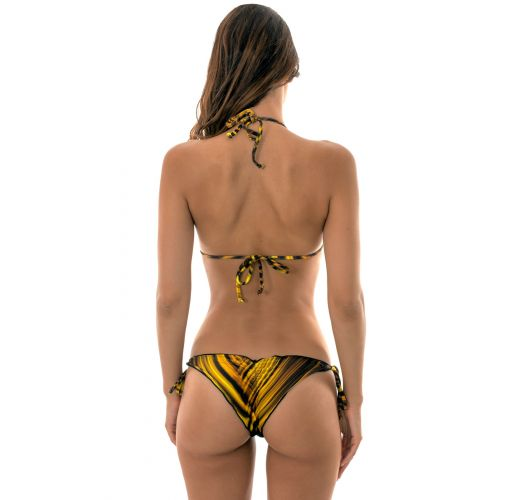 Yellow graphic printed, ruched bikini with scalloped edges - LUXOR FRU FRU