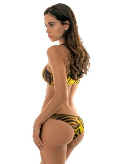 Gul, kort bikinitopp med grafiskt tryck, brottarrygg - LUXOR NADADOR