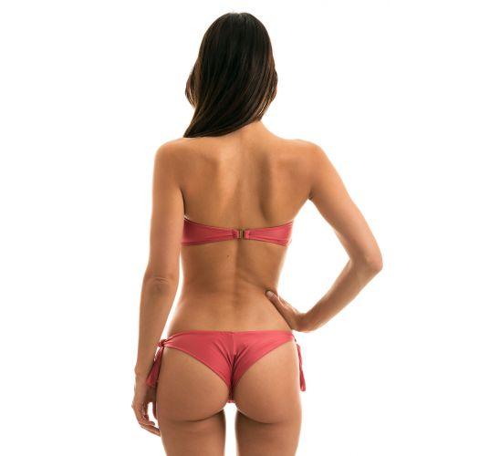 Brick color side-tie Brazilian bikini with bandeau top - MADRAS BANDEAU