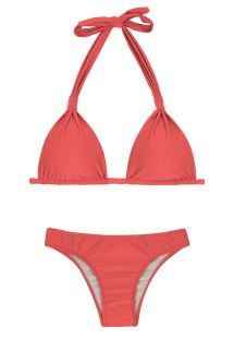 Dark red halter bikini - MADRAS CORTINAO