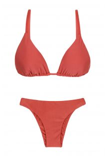 Sliding triangle bikini in brick color - MADRAS DUPLA FACE