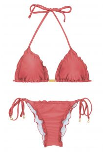 Pink brick side-tie scrunch bikini - MADRAS FRUFRU