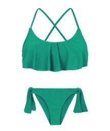 Grüner Crop Top-Bikini mit Rüschen, gekreuzter Rücken - MALAQUITA BABADO