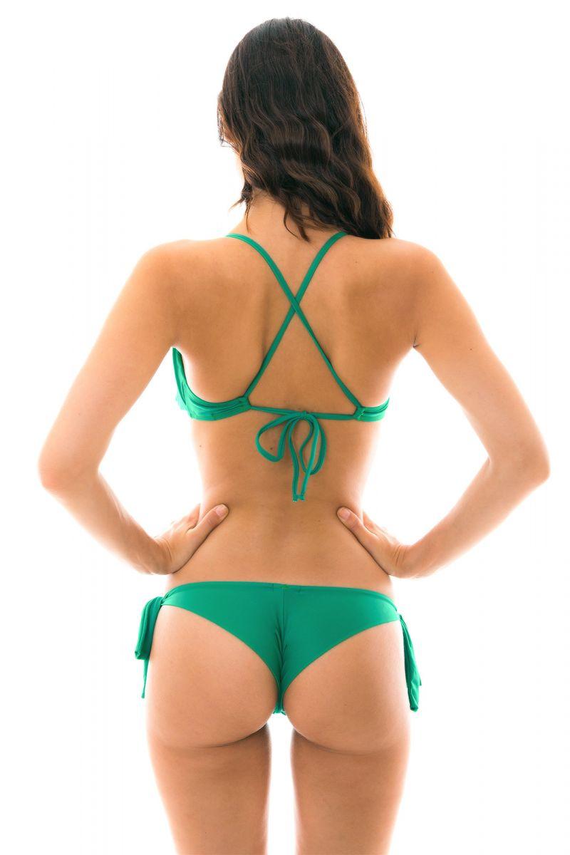 Green side-tie Brazilian bikini with frilled top - MALAQUITA BABADO