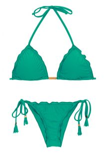 Green side-tie scrunch Brazilian bikini - MALAQUITA EVA