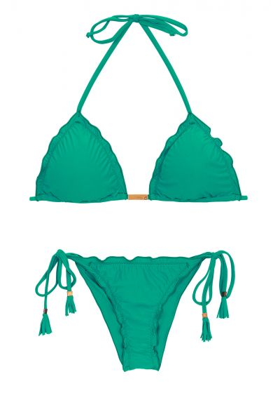 Grön, rynkad bikini med pompoms - MALAQUITA EVA