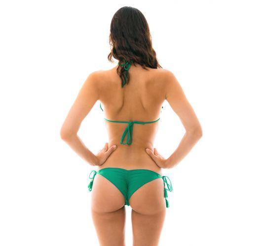 Brasilianischer Scrunch-Bikini, grün, mit Pompons - MALAQUITA EVA