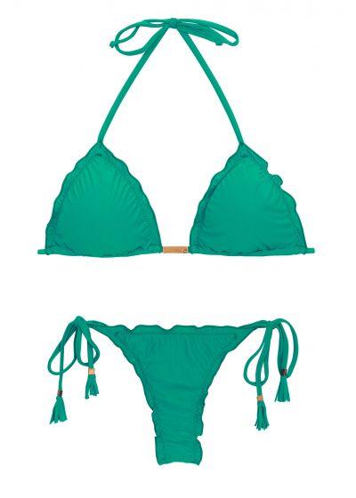 Grön, rynkad string bikini med pompoms - MALAQUITA EVA MICRO
