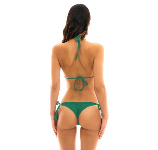 Green side-tie scrunch string bikini - MALAQUITA EVA MICRO