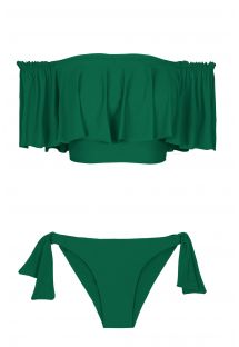 Green flounced off-the-shoulder crop top bikini - MANDACARU BABADO