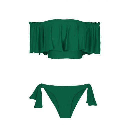 Zielone bikini crop top z dużą falbaną - MANDACARU BABADO