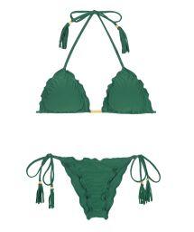 Green ruched bikini with fringed tassels - MANDACARU FRUFRU