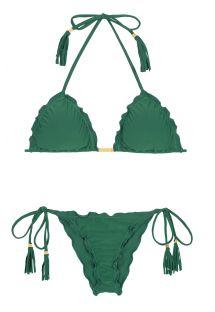 Bikini scrunch vert à pompons frangés - MANDACARU FRUFRU