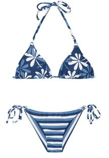Blue Brazilian bikini with a mixture of prints - MARESIA CHEEKY