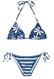 Bikini brasiliano in sfumature del blu, a righe e fiori - MARESIA CHEEKY